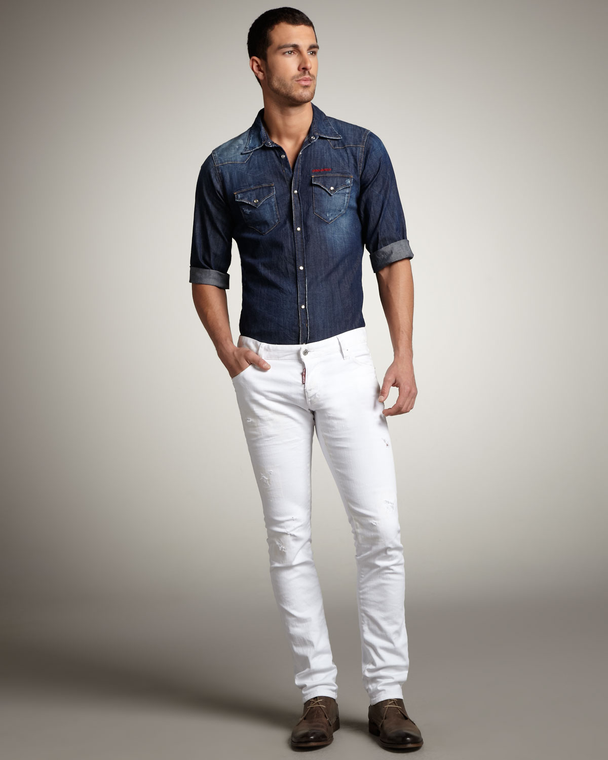 male white jeans - Jean Yu Beauty