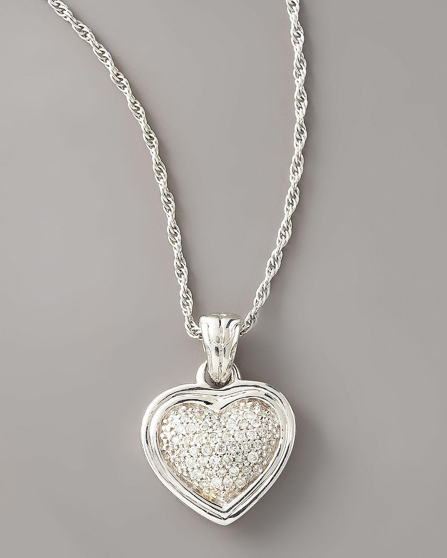 Lyst john hardy diamond heart pendant necklace in metallic gallery aloadofball Choice Image