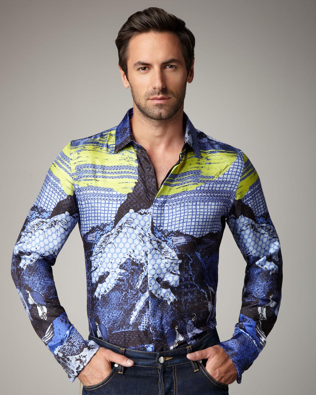 Lyst Just Cavalli Japan Print Silk Shirt In Blue For Men