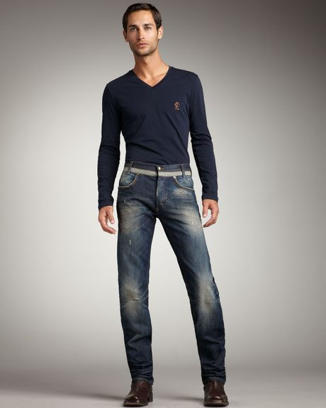 Just Cavalli Distressed Straight-Leg Jeans in Blue for Men (distressed denim)