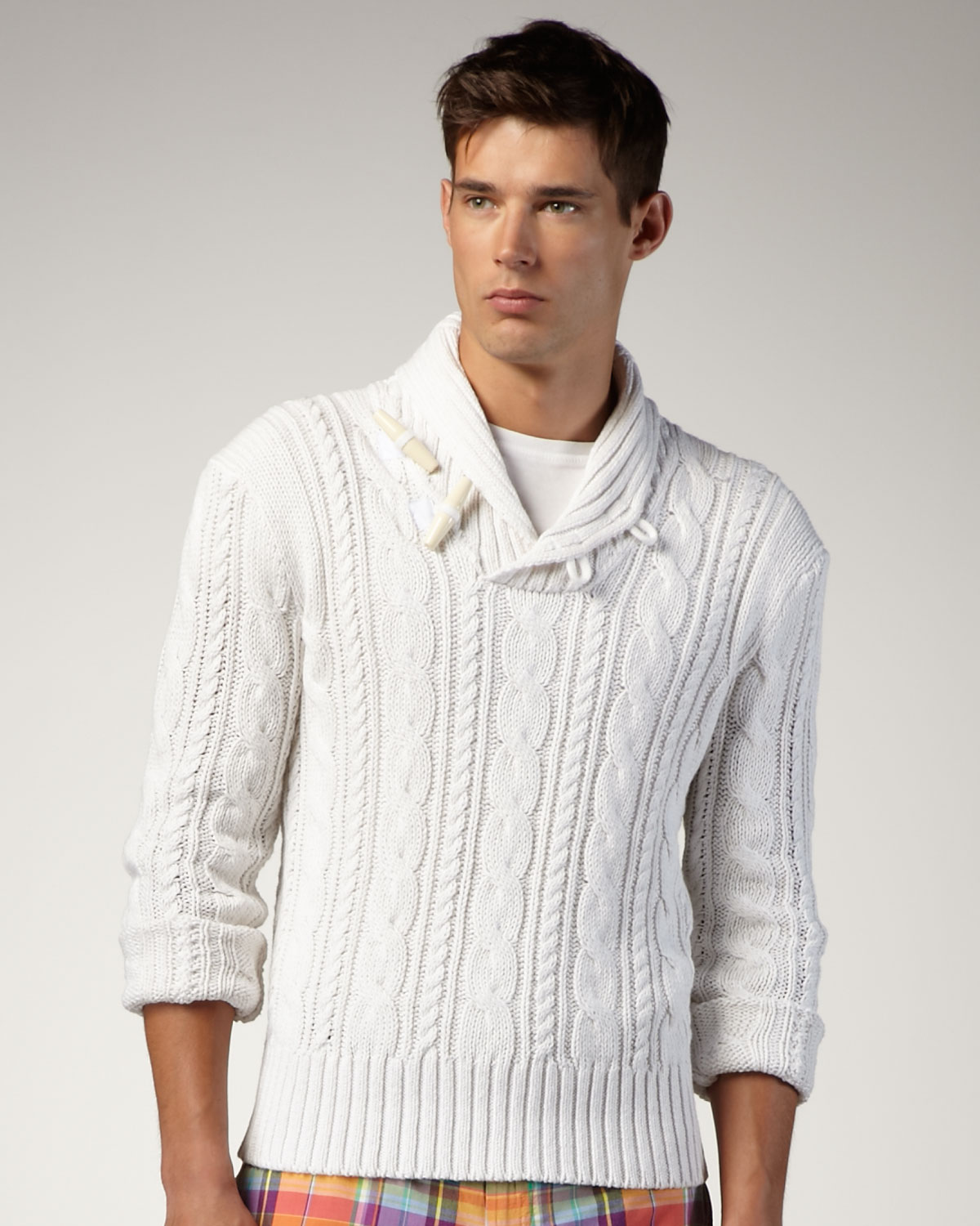 Polo ralph lauren Shawl-collar Cable Sweater in White for Men | Lyst