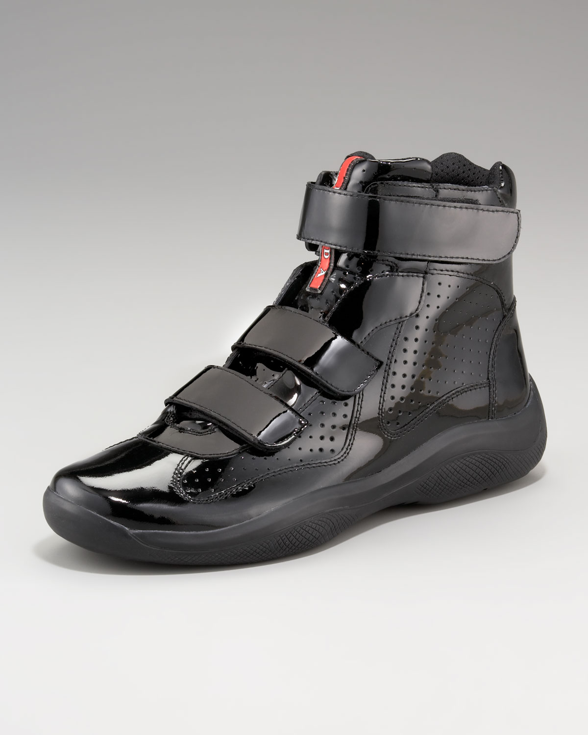6fa7dfb28f ... lace up luxury shoes 25321 f4b34  new zealand lyst prada patent hi top  sneaker in black for men cc473 9974c