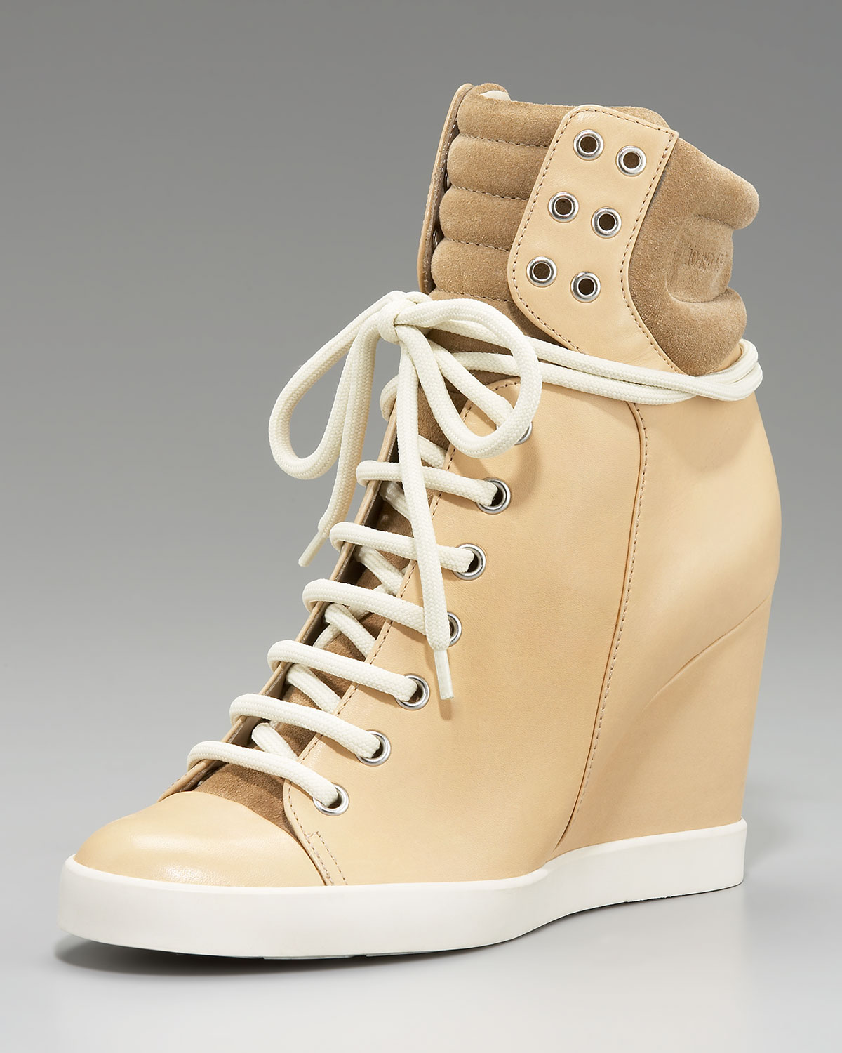 lyst see by chlo high top wedge sneaker in natural. Black Bedroom Furniture Sets. Home Design Ideas