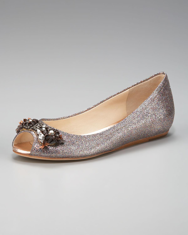 Lyst - Vera Wang Lavender Glitter Peep-toe Ballerina Flat in Metallic