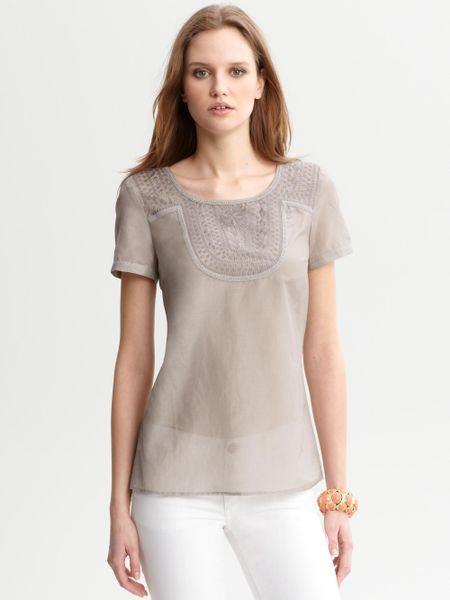 banana republic heritage sheer embroidered top in brown