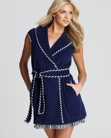 Betsey Johnson Baby Terry Robe with Stripe Trim in Blue