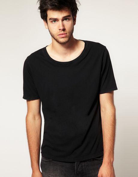 Nudie Jeans Nudie Wide Neck Tshirt In Black For Men Lyst