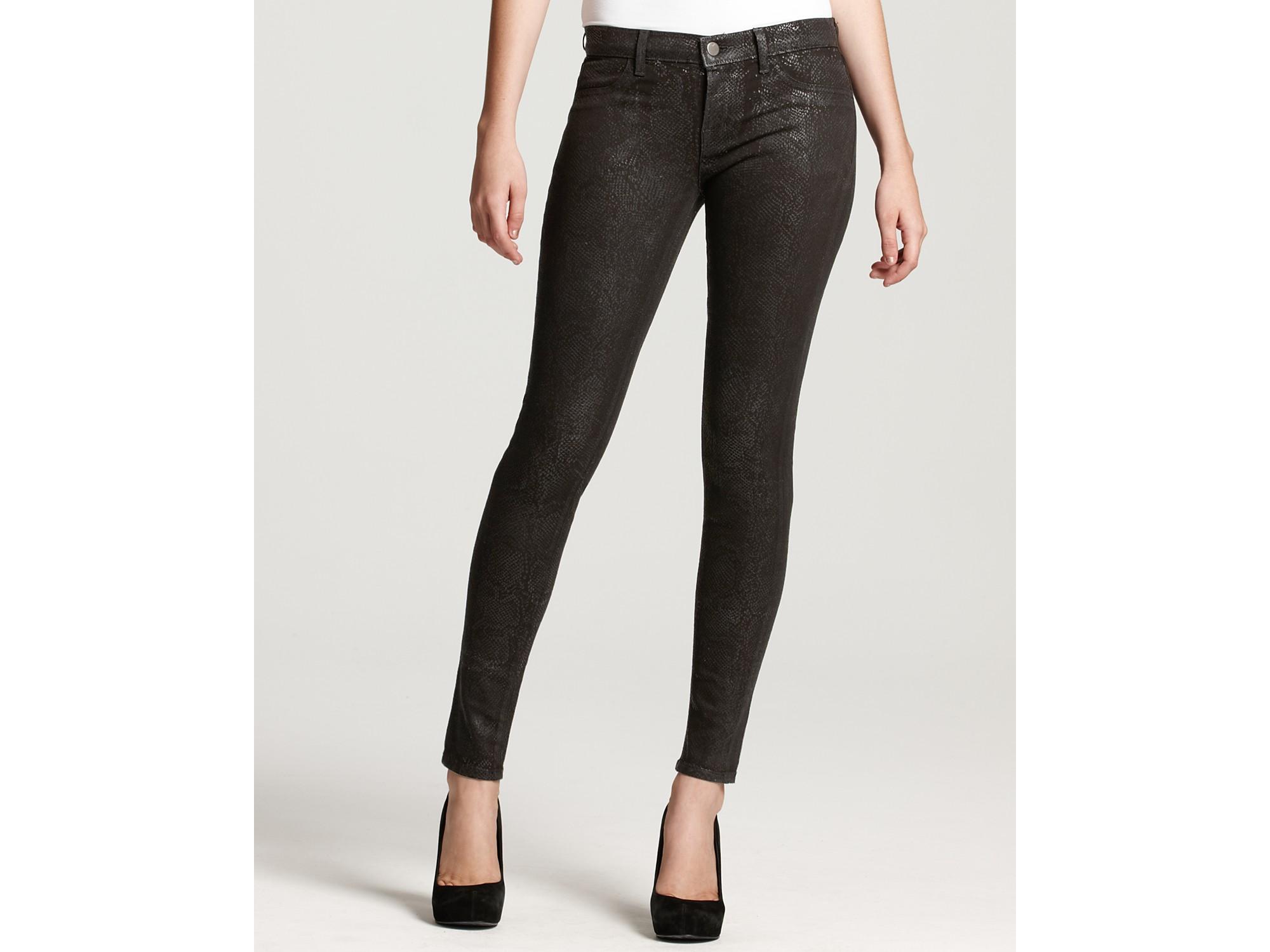 J brand 901 Matte Python Skinny Jeans in Black | Lyst
