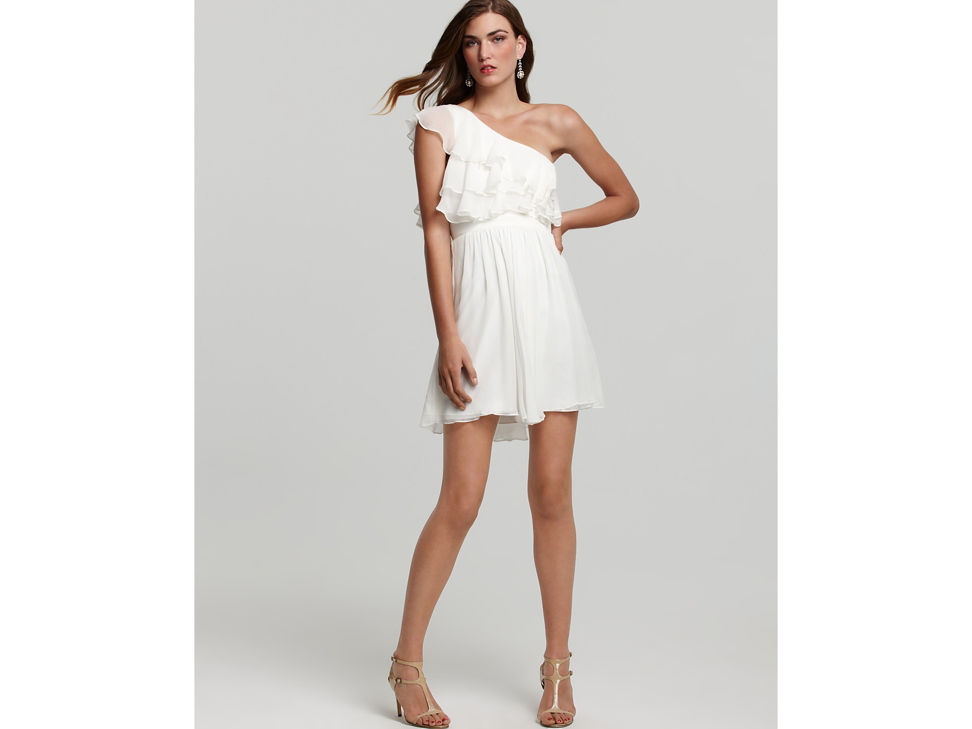 d3103998d37 Jill Stuart Dress One Shoulder Dress Ruffle in White - Lyst
