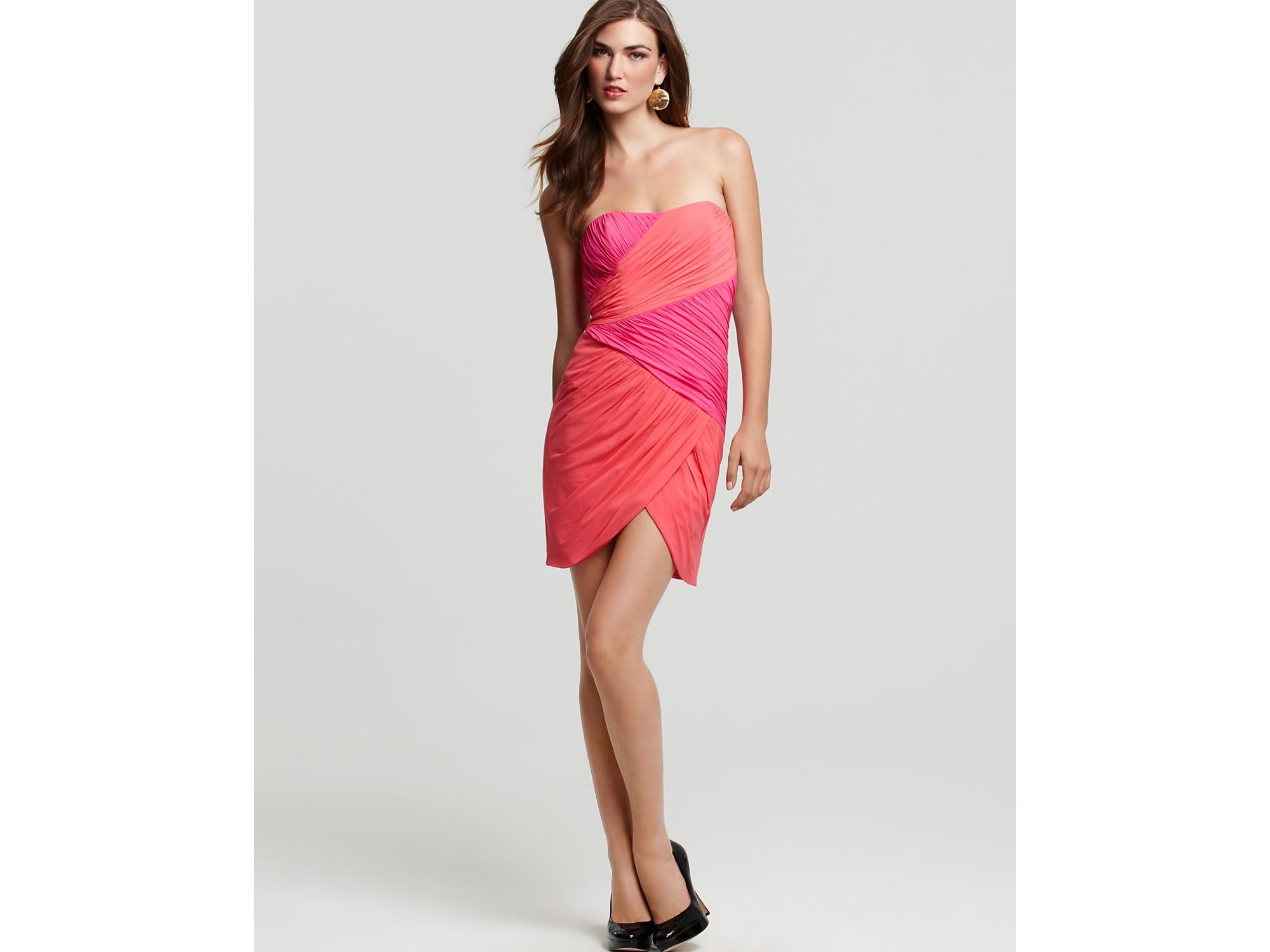 Jill stuart strapless ruched lace dress