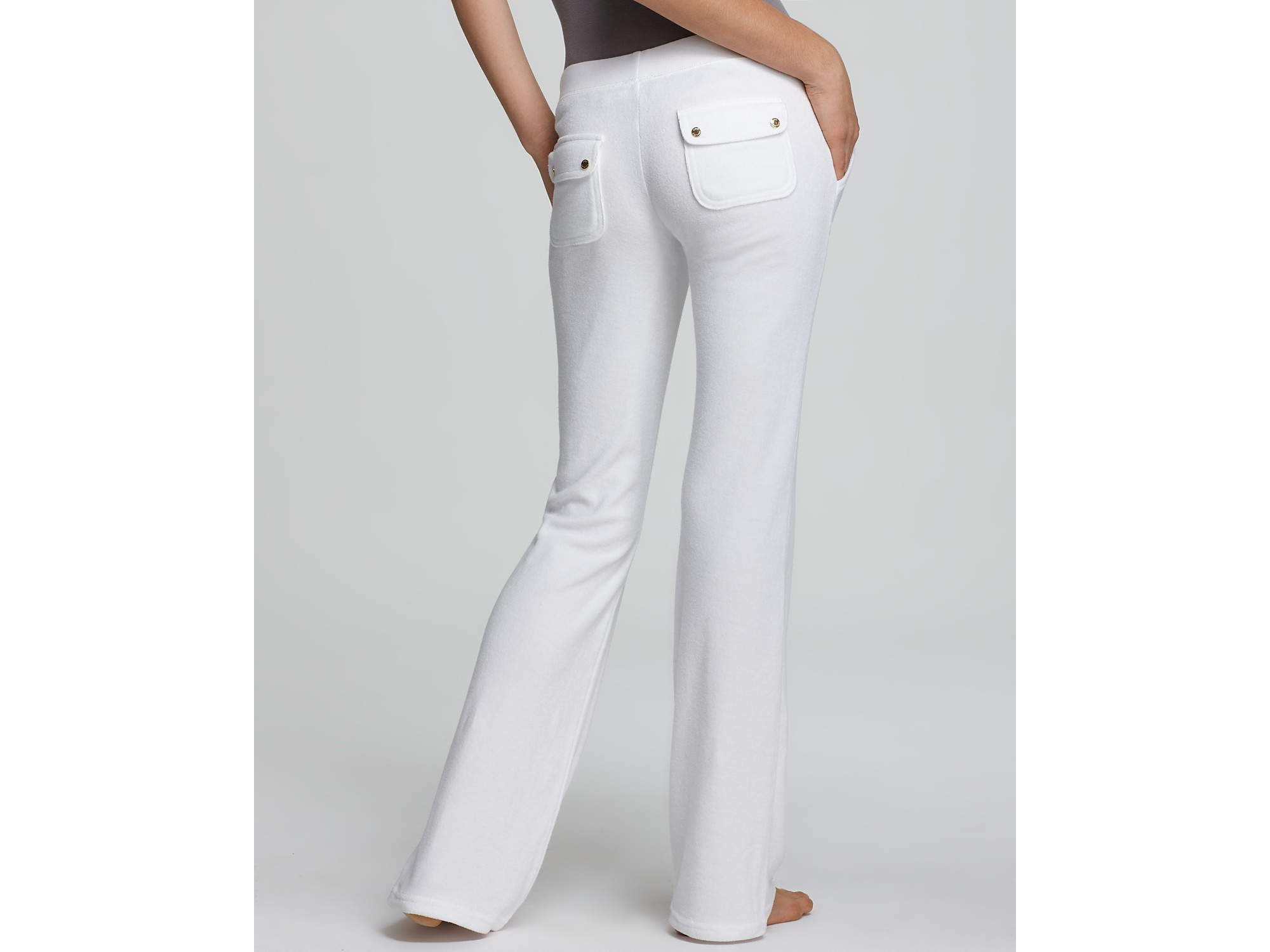 Lyst - Juicy Couture Terry Flare Leg Pants in White 323bdbb0d559