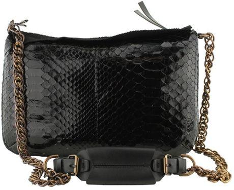 Lanvin Cabas Shiny Python Zip Handbag in Black
