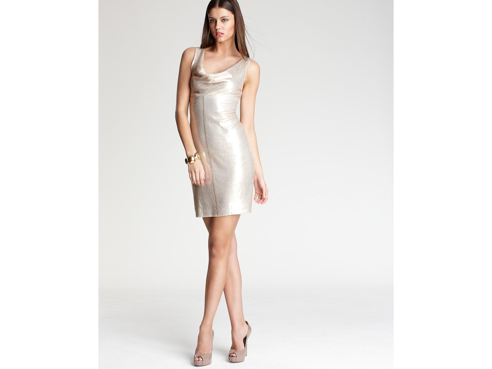 Nicole miller Dress Cowlneck Sequin Dress in Metallic - Lyst