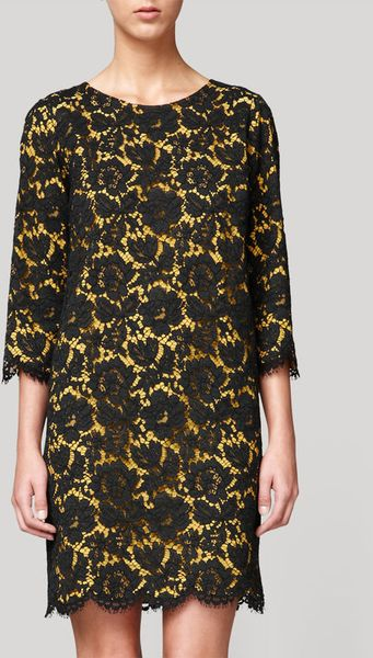 Stella Mccartney Lace Dress With Scalloped Edges In Yellow
