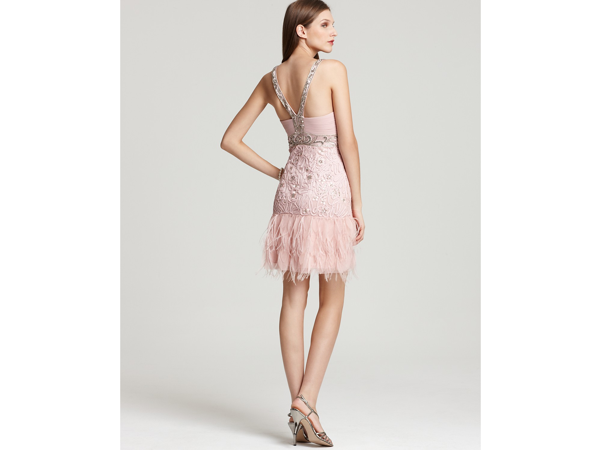 Sue wong Dress Feather Mini in Pink | Lyst