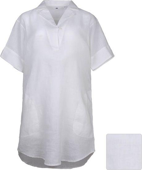 Uniqlo Women Premium Linen Pullover Short Sleeve Tunic In