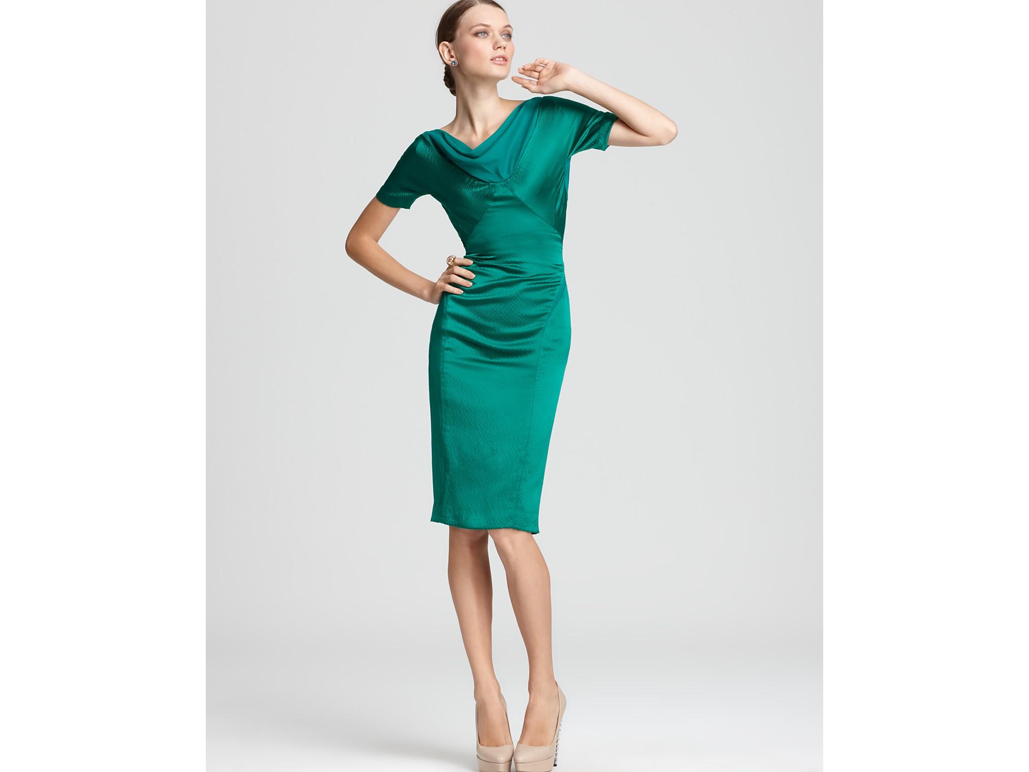 Lyst - Zac Posen Dress Fitted Short Sleeve in Green