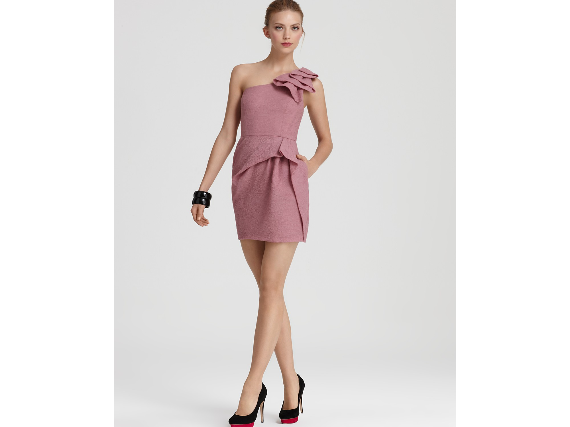 Lyst Bcbgmaxazria One Shoulder Ruffle Short Dress In Pink