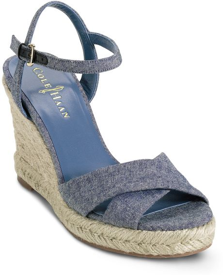 cole haan sandals air camila wedge in blue light denim