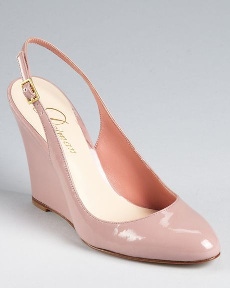 delman pumps fargo slingback wedge in pink black patent
