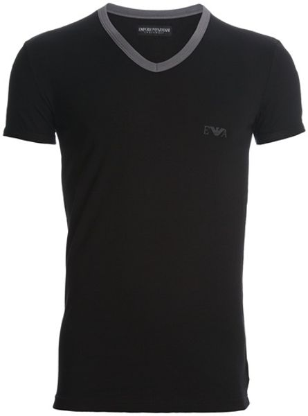 Emporio Armani Vneck Tshirt in Black for Men - Lyst