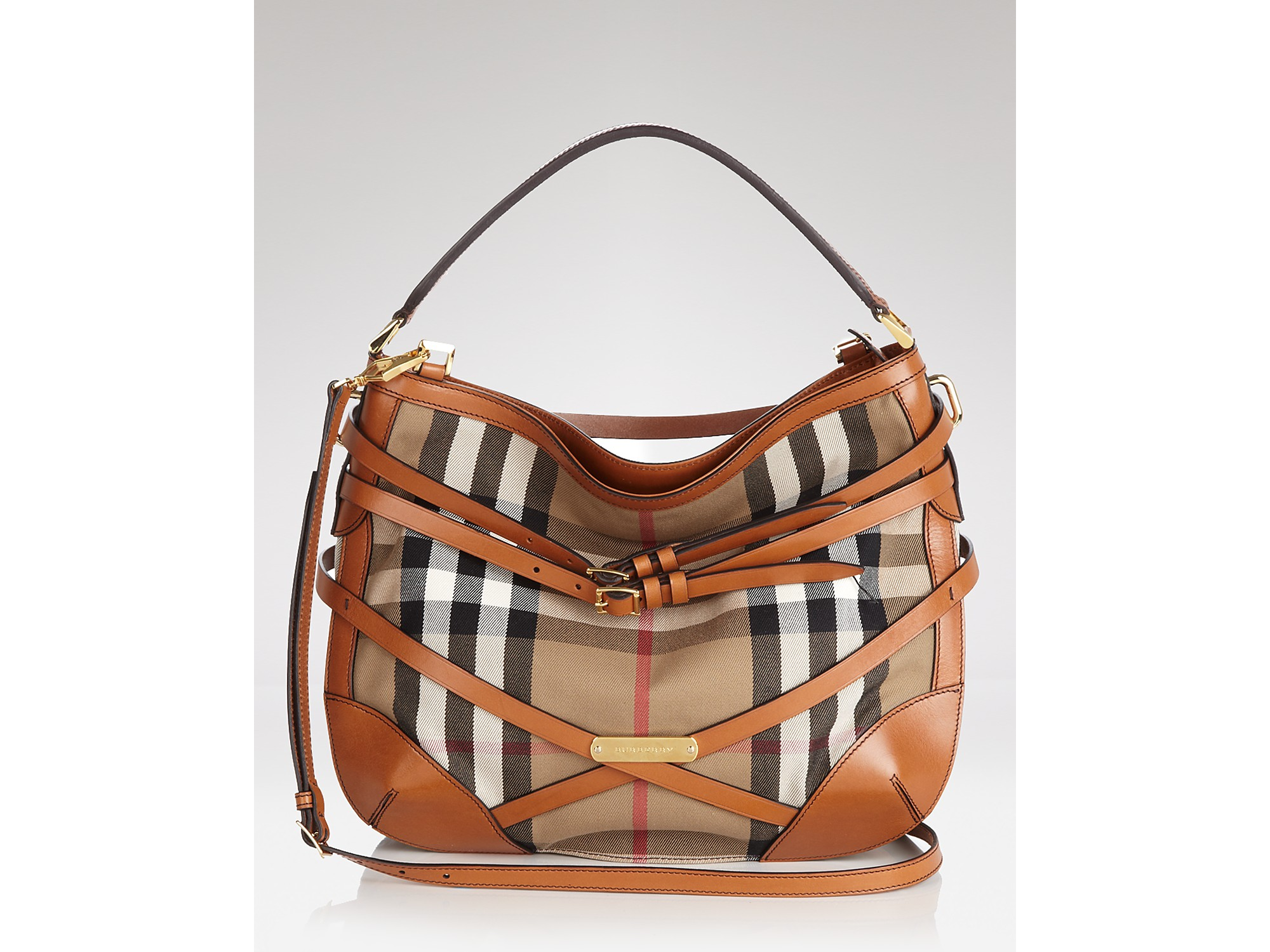 9984371ea59b Lyst - Hobo Burberry Bridle House Check Small Dutton in Brown