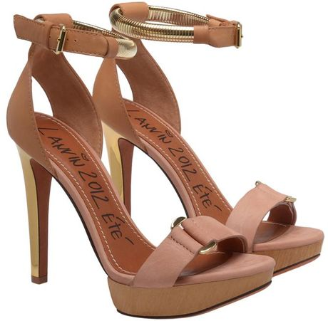 Lanvin Leather and Wooden Platform Heels in Brown (beige)