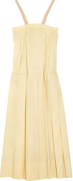 Marni Pleated Coated Cotton Dress in Yellow (sand)
