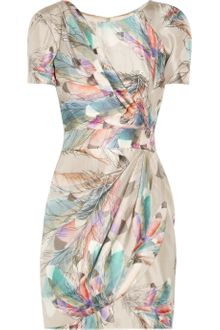 Matthew Williamson Feather print Silk-satin Dress - Lyst