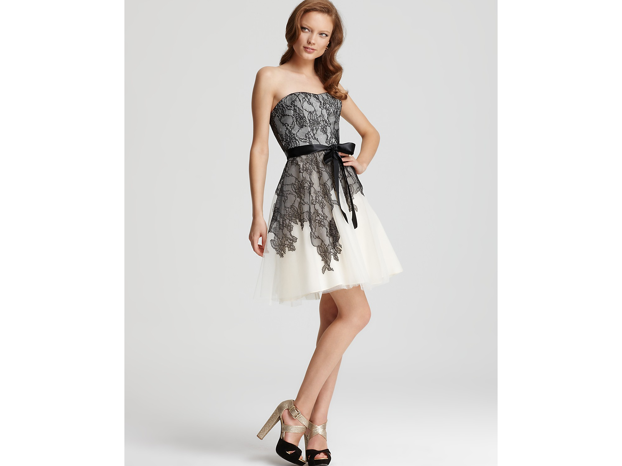 Lyst - Max & Cleo Dress Cynthia Lace and Tulle in Natural