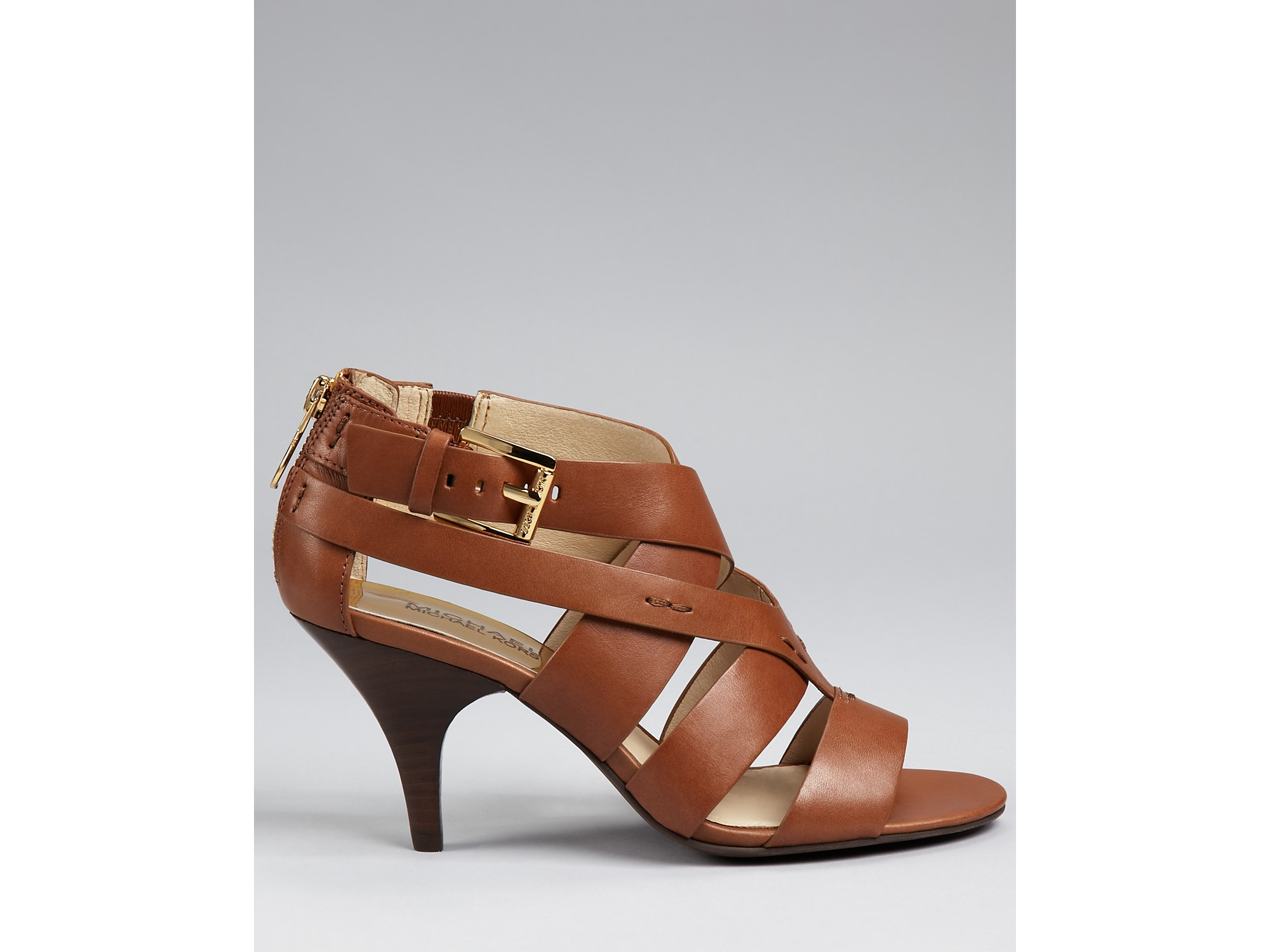 d264c84bfd14a9 Michael kors Michael Sandals Zoe Strappy Mid Heel in Brown