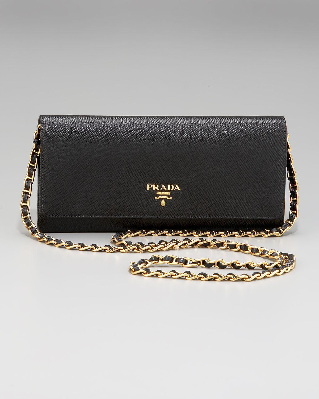 7afd9d51b78b 5a937 16599  best price lyst prada saffiano chain crossbody wallet in black  ec8ba 79dea
