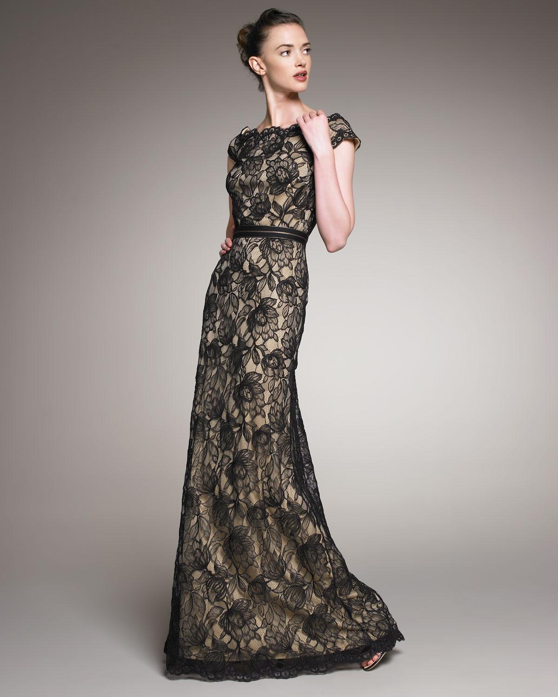 Lyst - Tadashi Shoji Scalloped Lace Gown in Black
