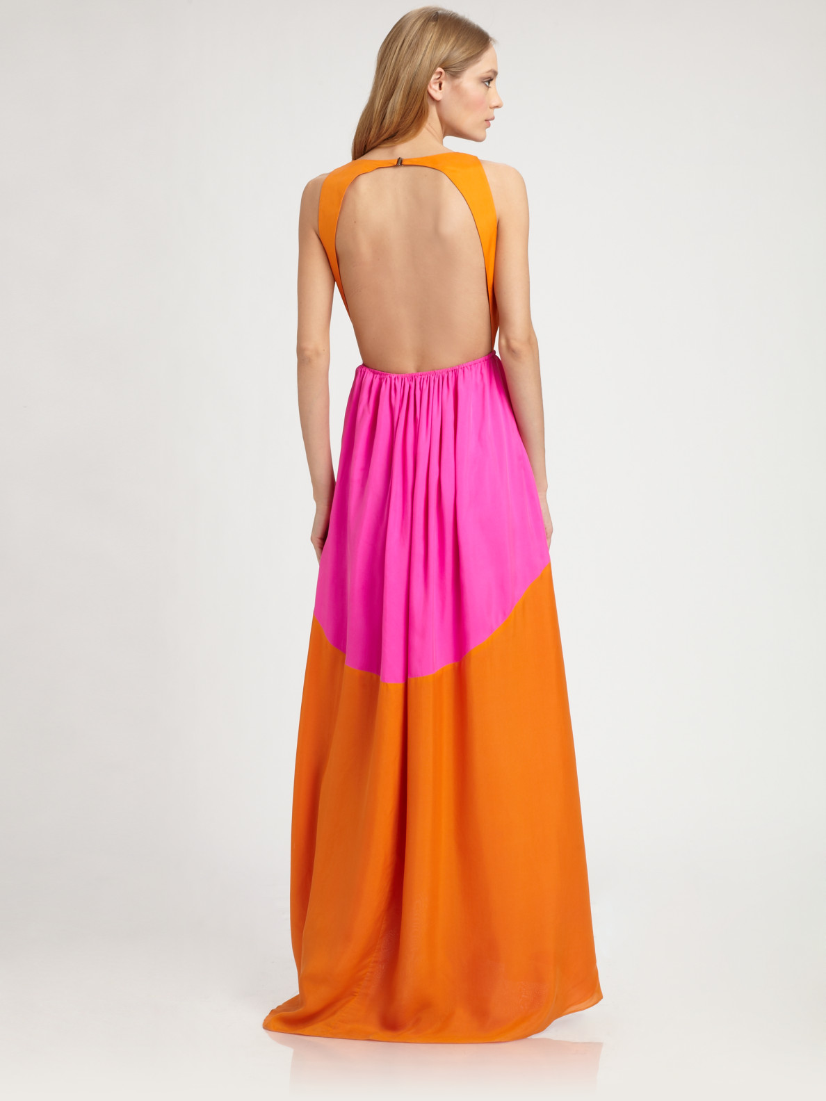 Tibi Silk Maxi Dress in Orange | Lyst