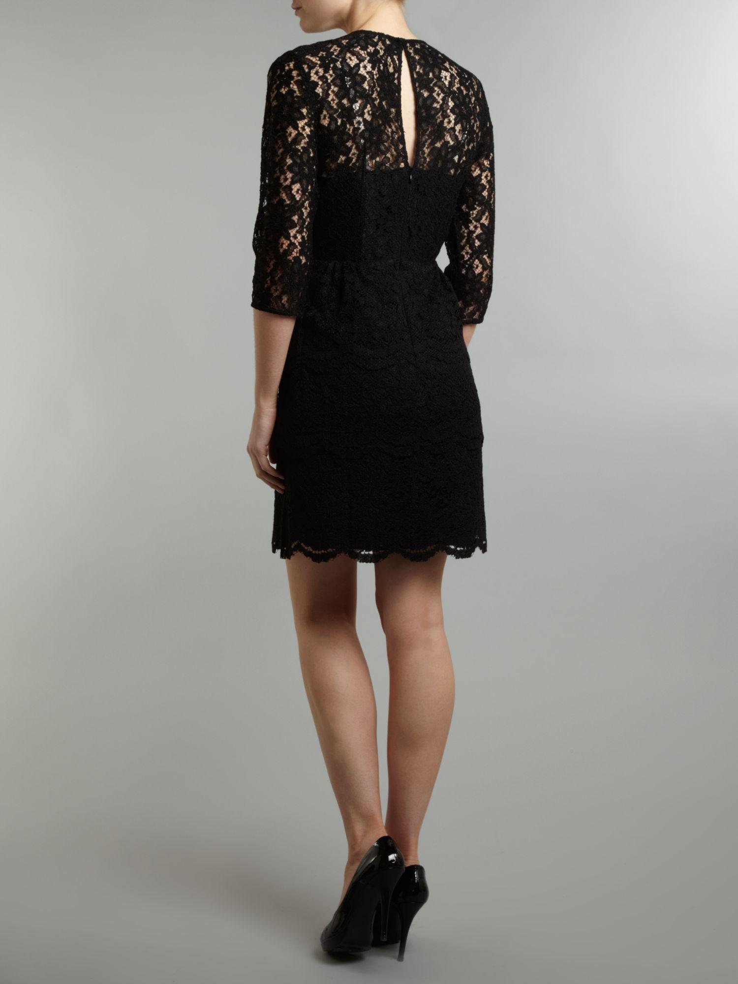 Whistles lace dress black