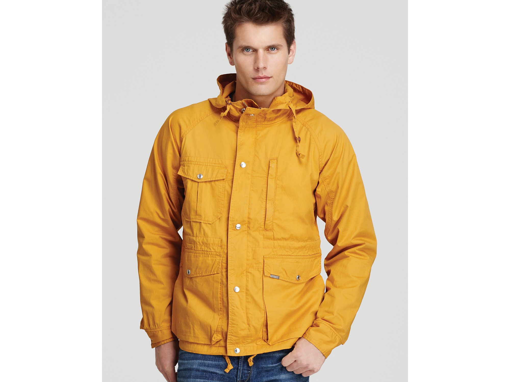 Woolrich Hooded Cargo Rain Jacket in Yellow for Men | Lyst