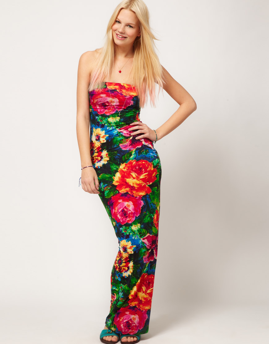 Asos collection Maxi Dress in Floral Print | Lyst