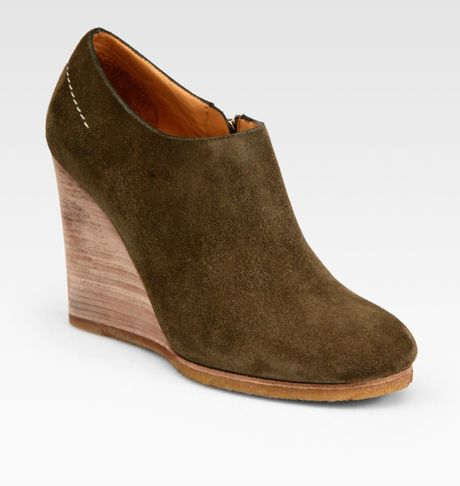 Chloé Suede Wedge Ankle Boots in Brown - Lyst