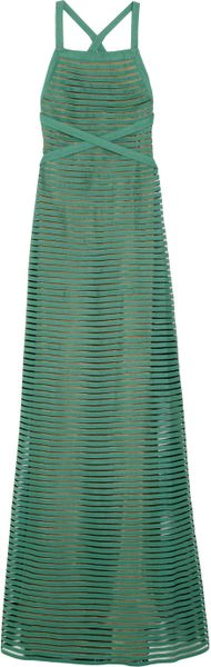 Giulietta Twill and Tulle Halterneck Gown in Green - Lyst