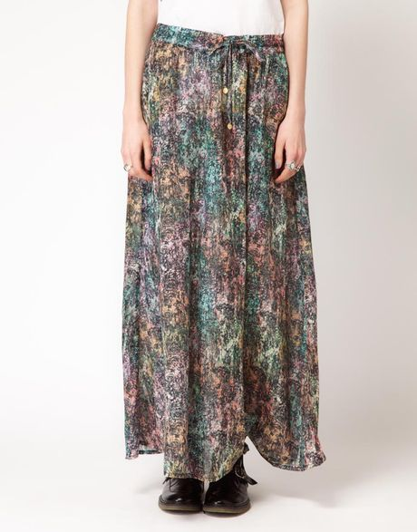insight insight maxi skirt in neon tribal print in