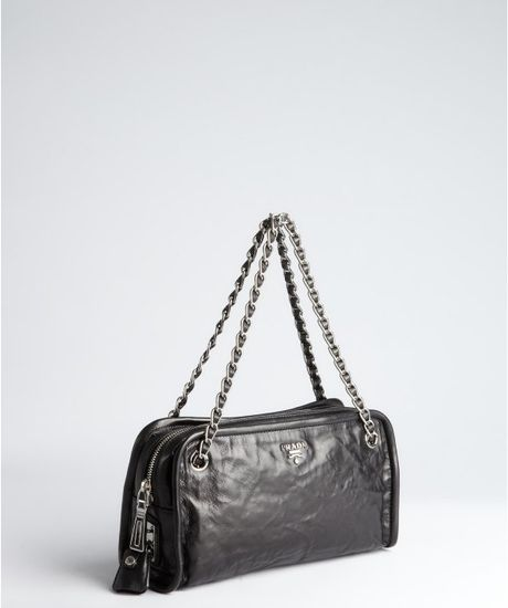 Prada Black Distressed Leather Chain Strap Shoulder Bag in Black - Lyst