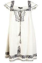 Suno Embroidered Trapeze Dress