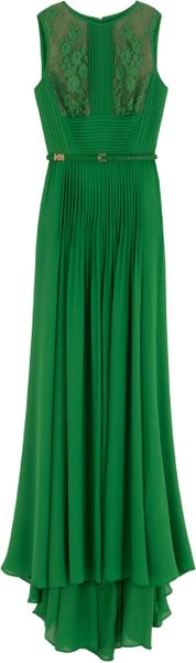 Elie Saab Silk Lng Drs W Lace Insert34 in Green
