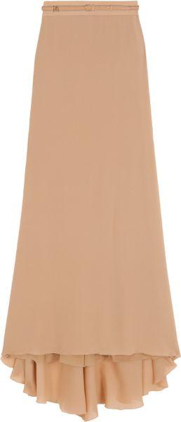 Elie Saab Long Belted Skirt in Beige (nude)