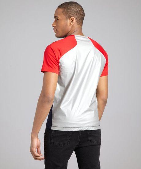 Balenciaga Navy Red And Grey Color Block Crewneck Tshirt