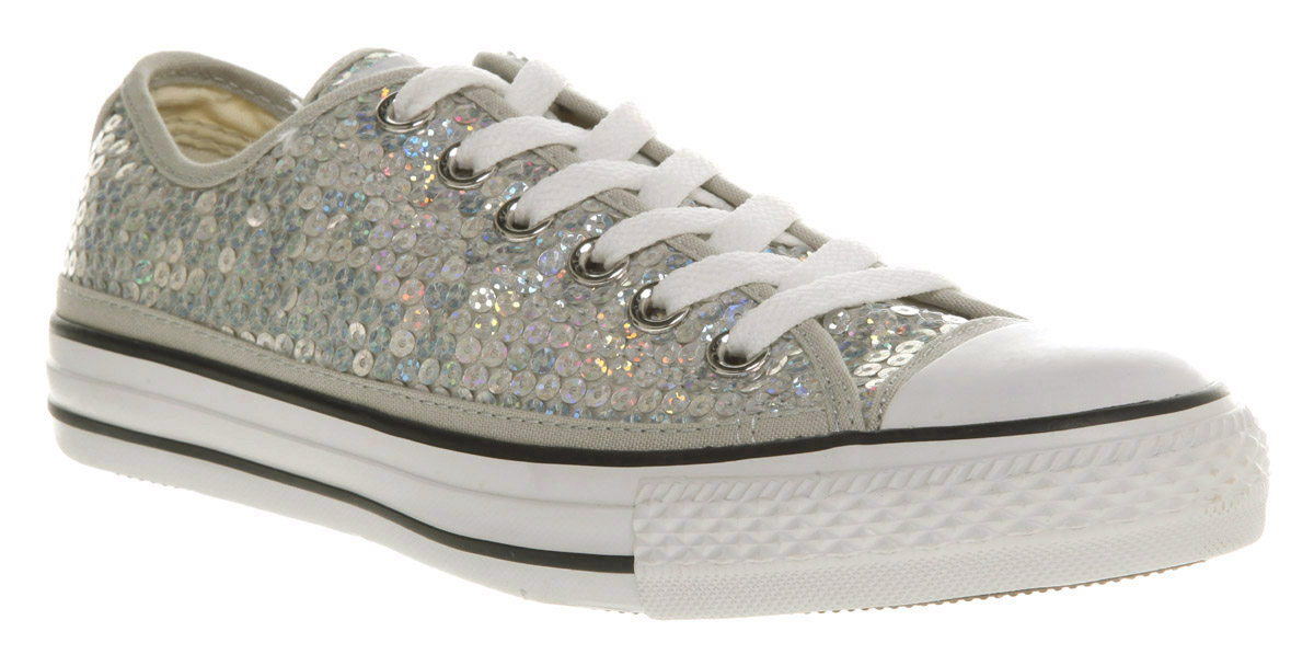 Converse All Star Ox Low Silver Sequins in Gray for Men - Lyst a8b835f479