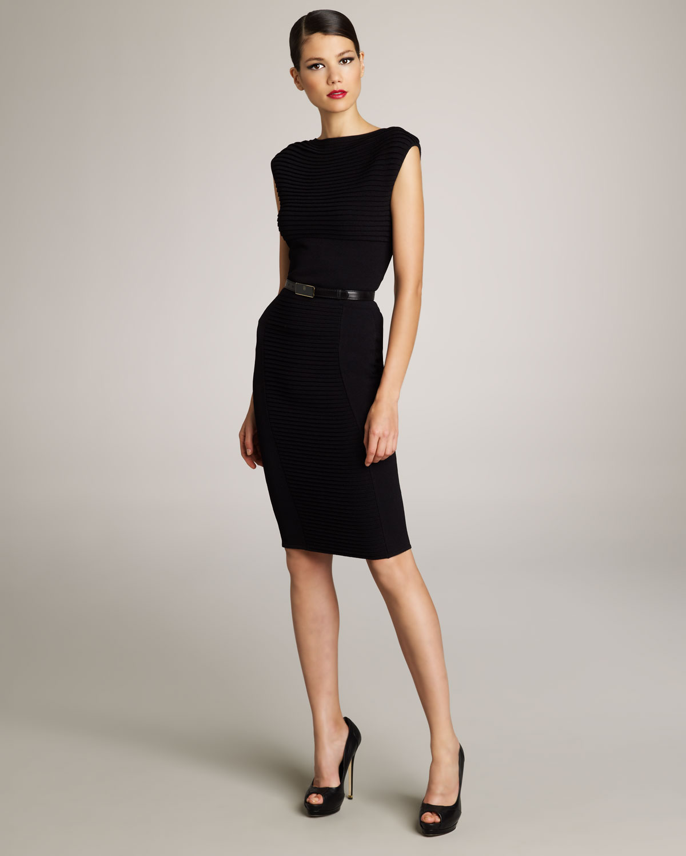 lyst elie saab pleated sheath dress in black