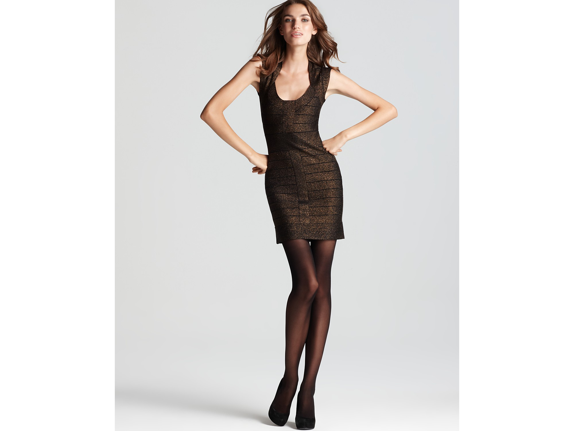 French connection gold black dress