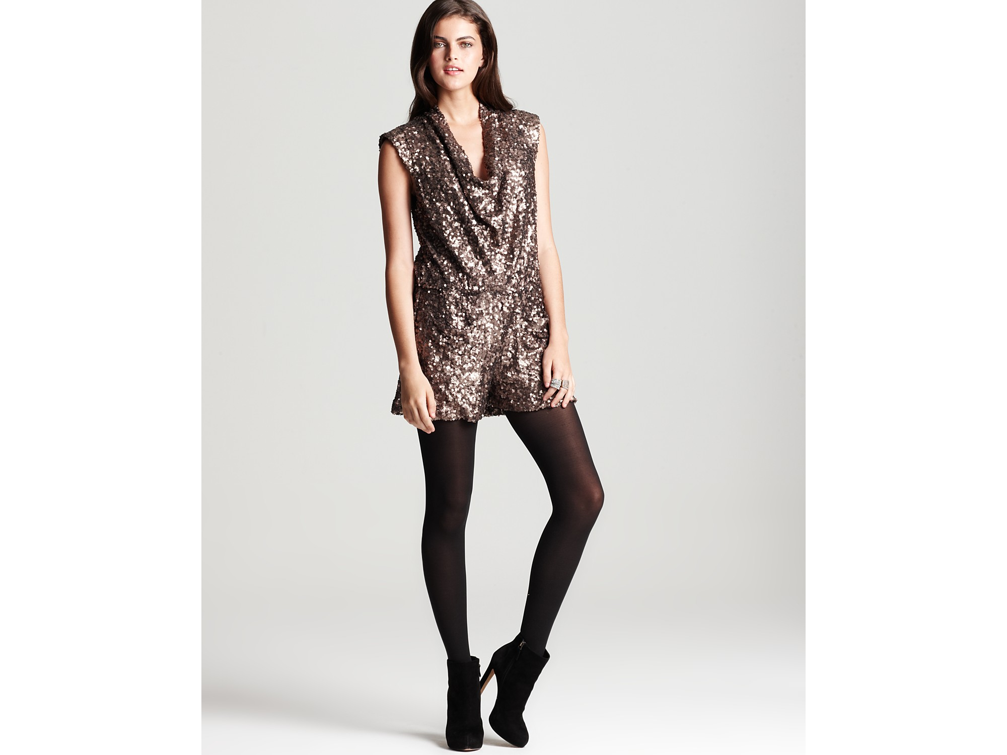963bc26d74 Lyst - French Connection Lucinda Sequin Playsuit in Metallic