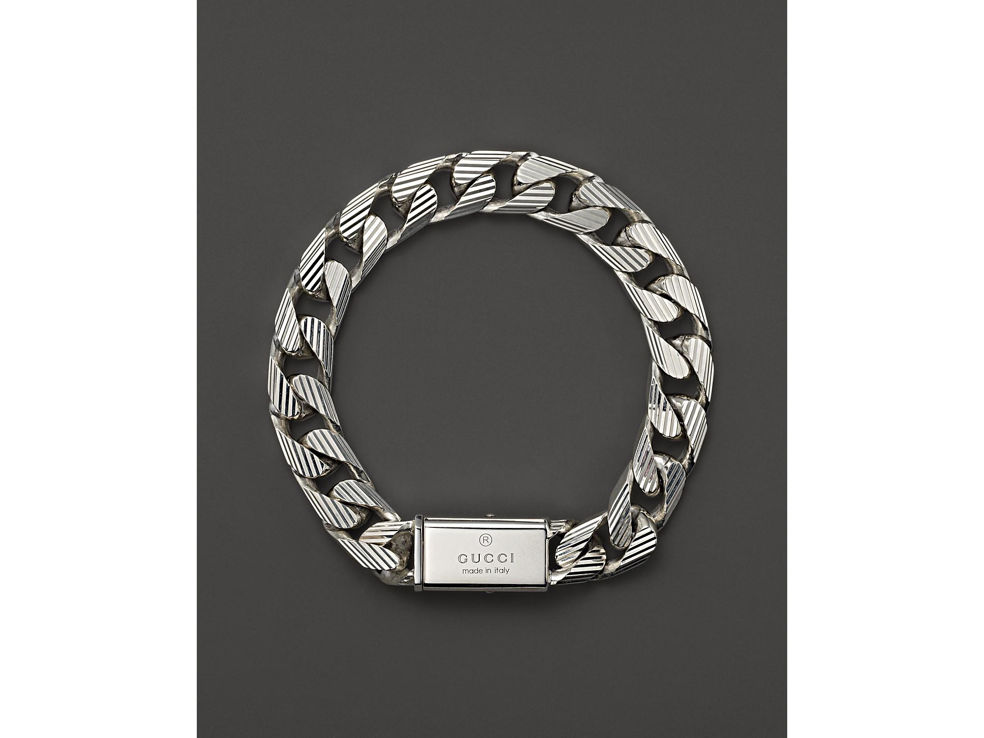 Lyst Gucci Mens Trademark Stripes Link Bracelet 8 In Metallic For Men